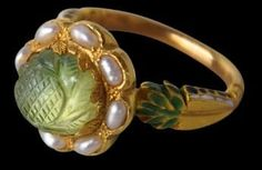 Carved emerald, pearls, gold, enamel ring