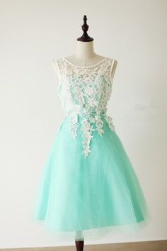 Pretty Handmade Turquoise Tulle Short Prom Dress With White Applique, Turquoise Prom Dresses, Homecoming Dresses 2015, Graduation Dresses