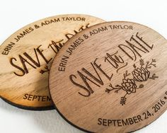 These laser engraved Save the Dates are made with your choice of a lovely light butternut or black walnut and are laser engraved and cut right here in