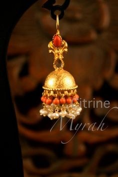Exclusive jewellery of CITRINE by purvi druv-II ~ Creatively Carved Life Gold Jhumka Earrings, Jewelry Design Earrings, Gold Earrings Designs, Bead Jewellery, Necklace Designs, Beaded Jewelry, Kerala Jewellery, Small Earrings, Indian Jewelry