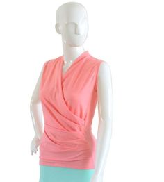 Plus Size Clothing Wrap Top Wrap Sleeveless Top Plus Size Plus Size Shirts, Plus Size Blouses, Mint Skirt, Coral Pink, Lilac, Pink Tops, Short Skirts, Capsule Wardrobe, Size Clothing
