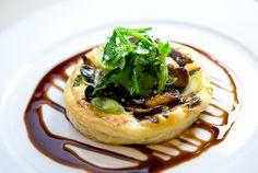 Wild Mushroom Tart with Gruyère, Herb Salad & Balsamic Reduction