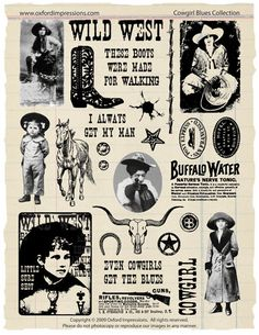 Cowgirl Blues Rubber Stamp Collection via Etsy
