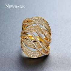 NEWBARK Brand New Gold-color Finger Rings Multi-layer Women Hollow Trendy Stacked Ring Jewelry Female With Size 7 8 9
