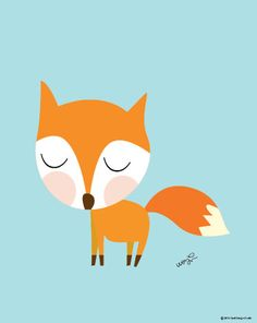 Baby Fox Going For A Walk Poster : Modern Animal Illustration Nursery Art Wall…