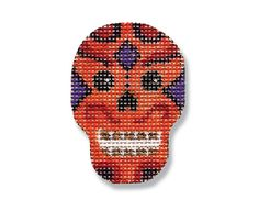 Halloween Needlepoint - Orange Skull canvas - 18 mesh $16.00