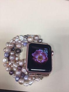 Apple Watch Bracelets, Apple Watch Bands, Smartwatch, Apple Watch Fashion, Black Apple, Freshwater Pearl Bracelet, Fashion Watches, Fresh Water, Jewelery