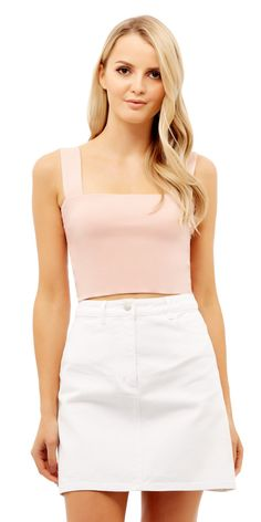 The Bella Crop Top is made from high quality pima cotton. Our pima cotton is cotton and elastane, which means it is comfortable to wear and will not stre Out Of Shape, Heart Charm, Mini Skirts, Crop Tops, Model, How To Wear, Cotton, Collection, Style