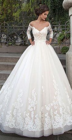 Attractive Tulle Bateau Neckline Ball Gown Wedding Dresses With Lace Appliques - Hochzeitskleid - brautkleid Princess Bridal, Princess Wedding Dresses, Best Wedding Dresses, Bridal Dresses, Trendy Wedding, Princess Style, Sheer Wedding Dress, Lace Wedding Dress With Sleeves, Perfect Wedding Dress