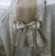 Burlap and lace table runners French country by Bannerbanquet, $36.00