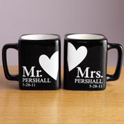 "Cute gift idea for newly weds ""Mr. and Mrs."" Mug Set, Black"