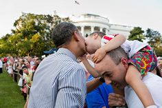 A little boy leans over to kiss President Barack Obama during the Congressional picnic on the South Lawn of the White House, June 27, 2012. (Official White House Photo by Pete Souza) This official White House photograph is being made available only for publication by news organizations and/or for personal use printing by the subject(s) of the photograph. The photograph may not be manipulated in any way and may not be used in commercial or political materials, advertisements, emails…