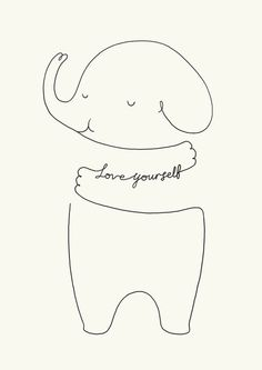Love Yourself Ele by ilovedoodle Art Print