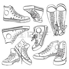 Vector hand drawn illustration of sneakers isolated on white Stock Vector