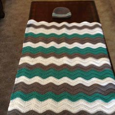 Crochet chevron blanket with matching hat