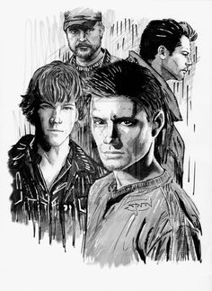 Here's my latest tribute piece, this time for one of my favorite shows: Supernatural. In this pic is Dean and Sam Winchester, Bobby Singer with his trad. Supernatural Fans, Supernatural Drawings, Supernatural Fan Art, Supernatural Wallpaper, Supernatural Christmas, Supernatural Seasons, Series Poster, Beautiful Posters, Destiel