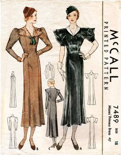 Circa 1933 Art Deco style dress in two styles. Princess seams, rounded shawl collar or pointed notch collar. Leg of mutton long sleeves or short puff sleeves. Flared skirt falls just below the knee.  Bust 36 Hips 39 Finished length from back of neck to hem 50 ★ ★ ★ ★ ★ ★ ★ ★  You will receive a high quality reproduction with full scale pattern pieces printed on white paper. This is a clean, computer drafted file printed to actual size. Instructions are included. ★ ★ ★ ★ ★ ★ ★ ★ I clean and…