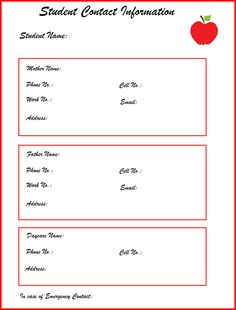Student Contact Information Sheet for school office, teachers, daycare and after-school activities.