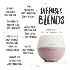 Diffuser blends using oils in your dōTERRA starter kit. Follow @charmiemartin for tips, promos or to join my team!