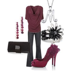 entire #outfit rocks! the stylish heels, the burgendy/grey/black color scheme, the top, the earrings... love it!