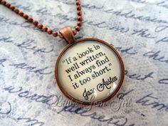 Jane Austen Book Quote Jewelry  Book Quote by LittleGemGirl, $18.00