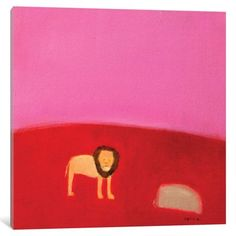 """Mercury Row Lion Painting Print on Wrapped Canvas Size: 26"""" H x 26"""" W x 0.75"""" D"""