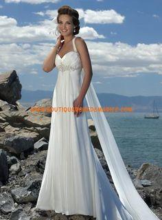 Robe de mariée avec traîne Watteau mousseline
