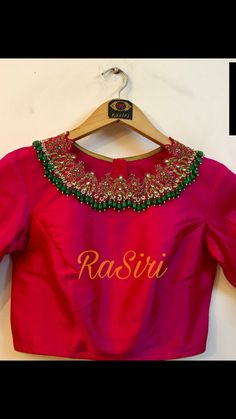 RaSiri by Prathima and Rashmi. New Blouse Designs, Silk Saree Blouse Designs, Bridal Blouse Designs, Maggam Work Designs, Designer Blouse Patterns, Dress Patterns, Trendy Sarees, Work Blouse, Mirror Work