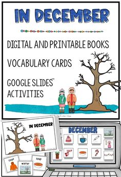 """In December"" is a book for beginning readers, or beginning English learners. Loaded with vocabulary and picture supports, this seasonal book comes in both digital (PowerPoint) and printable versions (color AND black/white). Books For Beginning Readers, English Language Learners, Vocabulary Cards, Teaching English, December, Black White, Printable, Activities, Digital"