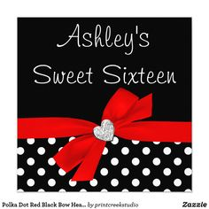 Polka Dot Red Black Bow Heart Sweet 16 Card A girly sweet sixteen birthday invitation featuring a faux diamond heart and red ribbon bow illustration, accenting a black and white polka dot pattern. Girly and cute. Easily customize with your party details! Designs are printed illustrations/graphics - NOT ACTUAL EMBELLISHMENTS.