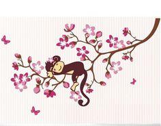 1pc vendita calda carino scimmia autoadesivo della parete camera bambini vinile muro decalcomanie scuola materna bricolage carta da parati qt234 spedizione gratuita