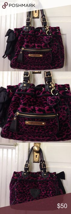 """Juicy couture pink & black leopard print bag, Juicy couture pink & black leopard print bag, 15"""" across, 10.5"""" high, 5"""" wide, magnetic closure at top , black ribbon bow on one side, 3 soft heat dandles off of strap, one side pocket, inside zipper pocket with """"j"""" dangle pocket says """" SHOP!"""" 2 small slit pockets and a mirror inside, outside is in excellent condition, some pen marks and small staining on inside as seen in last 2 pictures Juicy Couture Bags"""