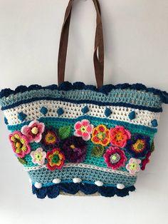 Crocheted Bag Beach bag ibizastyle Crochet bag polleviebag