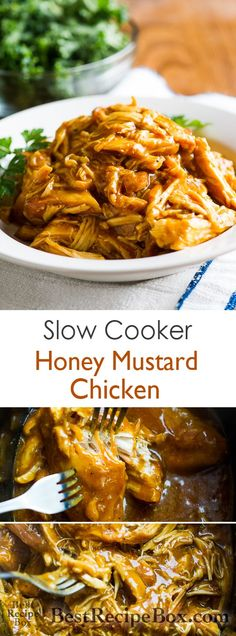 Tender, Moist and Delicious Slow Cooker Honey Mustard Chicken Recipe on BestRecipeBox.com