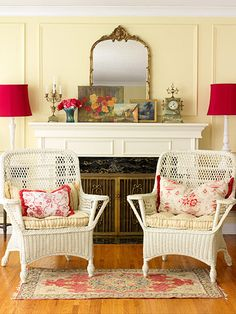 I love the look of a layered mantle. For me, more is better. Bring on the stuff!    I love the splashes of red in this setting. Red is one of my happy colors. Cottage is my favorite design, so I will have a place like this in my dream home. Comfortable, cottage and splashed with red.