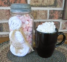 It's that time again....   Today's Mason Jar Monday is simple and sweet.   I used a vintage jar and zinc lid.   I made 3 white muslin roset...