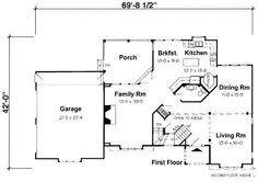 First Floor Plan of European   House Plan 24650