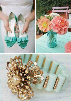 seafoam wedding program | seafoam green and coral wedding invitations