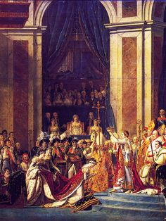"""""""THE CORONATION OF NAPOLEON"""" Empress Joséphine kneels before her husband, Emperor Napoleon I, at Notre Dame Cathedral,Paris 2 December 1804,  by Jacques-    Louis David CROPPED"""