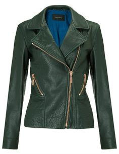 { Dark Green Leather Jacket }