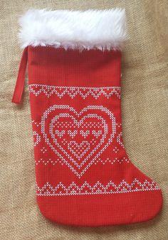 Xmas Stocking, Christmas Stocking, Xmas Stocking with Heart, Fireplace Decor by PirkkosCreations on Etsy