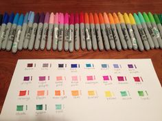 My OCD level; color-charting sharpies.