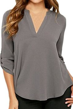 Chase Secret Womens V Neck Blouses Solid Loose Casual Cuffed Sleeve Shirt Top