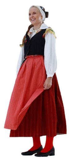 Traditional Finnish folk costume, a woman´s dress representing the region of Virolahti.