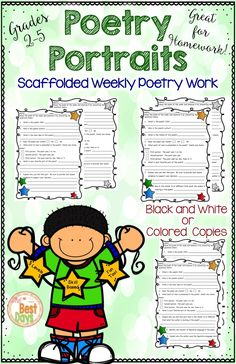 Are you looking for a way to get poetry into your elementary 2nd, 3rd, 4th, and 5th grade classroom? Use any poem and these pages will help students analyze it for elements of poetry.  These graphic organizers will make your teaching easier and fun!  Use these activities at reading time, in centers, as homework, or any other way you can think of!  Figurative language included!  This makes learning poetry fun for second graders, third graders, fourth graders, and fifth graders too!