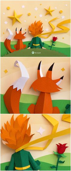 Beautiful Handmade Paper Craft Inspired by The Little Prince children's book.