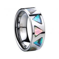 Tungsten Wedding Band withAbalone Shell Inlay -8mm  RRP: Price: $65.00