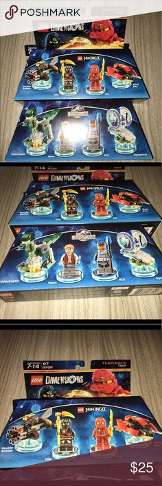 Lego jurassic World & ninjago team pack NIP Thank you for viewing my listing, for sale is a Lego dimensions, two-piece, team pack.  You will receive ninjago 71207  Jurassic World 71205  Both are brand-new in the package. If you have any questions or would like additional photos please feel free to ask. Lego Accessories