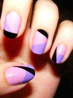 Base coat of pink; x2colors blocked-off by nail art tape; top coat. (Wait x5 mins betwn each step or color)