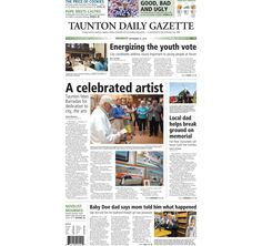 The front page of the Taunton Daily Gazette for Monday, Sept. 21, 2015.